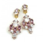 Fatal Kiss Earrings Clips-on ~ Amethyst Clear Crystal