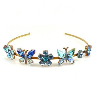 Headband with Butterflies ~ Blue Aqua