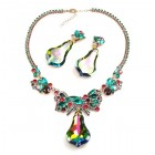 Vitral Green Dangling Stones Necklace Set ~ Green Fuchsia