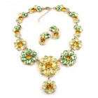 Eden Holiday Necklace with Earrings ~ Yellow Green