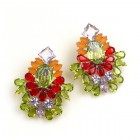Elegancy Earrings with Clips ~ Lime Red Topaz