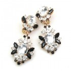 Aztec Sun Earrings Clips ~ Clear Crystal with Black