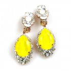 Tears Clips-on Earrings ~ Crystal with Opaque Yellow