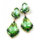 Toccata Earrings Pierced ~ Green with Emerald