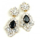 Beaute Earrings with Clips ~ Crystal with Black