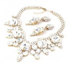 Taj Mahal Necklace Set with Earrings ~ Clear Crystal