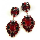 Alchemy Glam Earrings Pierced ~ Ruby Red with Black