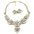 Charmeur Set Necklace with Earings ~ Crystal Opaque White