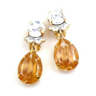 Effervescence Earrings with Clips ~ Amber Gold Clear