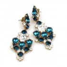 Fatal Kiss Earrings Pierced ~ Montana Blue Clear Crystal