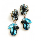 Fascinate Earrings Pierced ~ Silver Black Aqua
