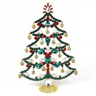 18cm Xmas Tree with Dangling Rondelles ~ Emerald Red