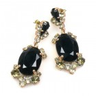 Mythique Earrings for Pierced Ears ~ Black Diamond and Black