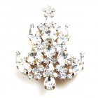 Rivoli Xmas Tree Brooch ~ Clear Crystal