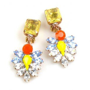 Perceive Earrings with Clips ~ Yellow Clear Sapphire