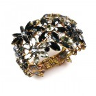 True Love ~ Clamper Bracelet with Flowers ~ Black Smoke