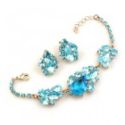 Lite Fountain Bracelet and Earrings ~ Aqua