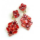 Fatal Passion Earrings Clips-on ~ Ruby Red