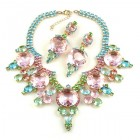 Taj Mahal Necklace Set with Earrings ~ Pink with Aqua and Green