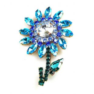 Flower Pin Medium ~ Aqua Blue