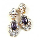 Crystal Gate Clips-on Earrings ~ Silver Purple