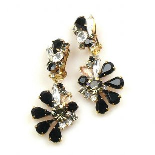 Power of Flowers ~ Earrings with Clips ~ Crystal Black