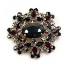 Aztec Sun Brooch ~ Black with Smoke Crystal