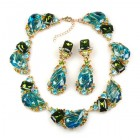 Fountain Necklace and Earrings ~ Green Jungle