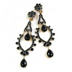Extra Long Dangling Earrings Clips-on ~ Black