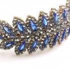 Navette Headband Tiara ~ Crystal with Sapphire