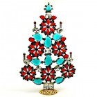 2020 Xmas Tree Stand-up Decoration 22cm ~ Red Emerald