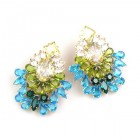 Elegancy Earrings for Pierced Ears ~ Aqua Olive Jonquil