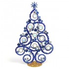 2019 Xmas Tree 16cm Waves and Rondelles ~ Blue Clear