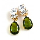Effervescence Earrings with Clips ~ Olive Clear