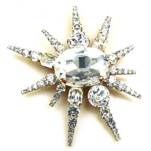Monstrance Star Brooch Large ~ Clear Crystal