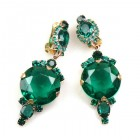 Taj Mahal Earrings Clips ~ Emerald