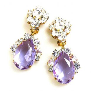 Fountain Clips-on Earrings ~ Clear Crystal Violet