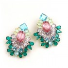 Elegancy Earrings for Pierced Ears ~ Old Rose Emerald