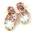 Fiore Clips Earrings ~ Clear Crystal Ovals with Pink