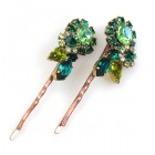Melancholy Bobby Hairpins ~ Green Tones ~ Pair