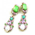 Miracle Pierced Earrings ~ Opaque White with Green