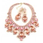Absolue Necklace Set with Earrings ~ Opaque Pink with Rose