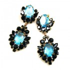 Aztec Sun Earrings Pierced ~ Black with Aqua