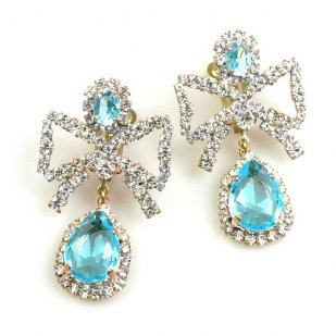 Bows Earrings Clips ~ Aqua