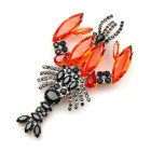 Lobster Brooch ~ Black and Hyacinth Red