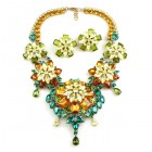 Crystal Blossom ~ Necklace Set ~ Topaz Emerald Yellow Olive