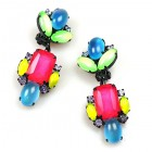 Summer Neon Clips Earrings ~ Pink Multicolor ~ Black Plated
