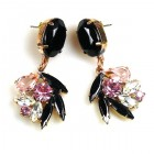 Close to Heaven Pierced Earrings ~ Pink Crystal Black