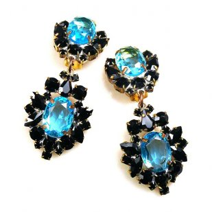 Aztec Sun Earrings Clips ~ Black with Aqua