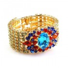Sunnydance Clamper Bracelet ~ Aqua Multicolor ~ Gold Plated
